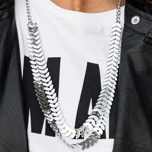 Double Chain Fashion Forward Silver Necklace